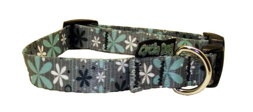 Cycle Dog - EcoWeave - Small Dog Collar - Mint Retro Flowers - (15cm-30cm)- for dogs up to 13.5kg