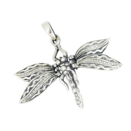 Dragonfly Pendant - 3.5 cm - flexible wings - .925 Sterling Silver