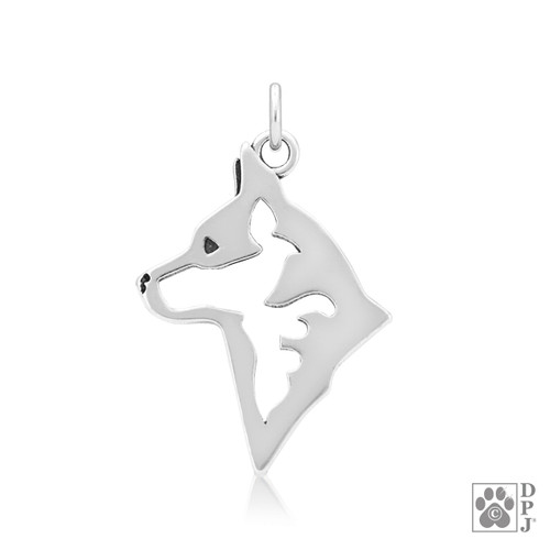 Silver pendant featuring the head of an Australian cattle dog