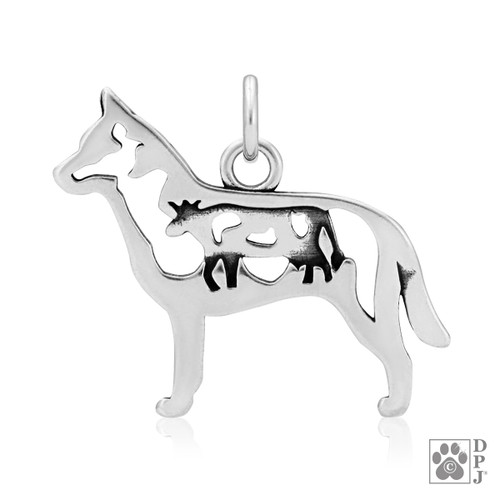 Sterling Silver pendant featuring an Australian cattle dog with a cow in the body
