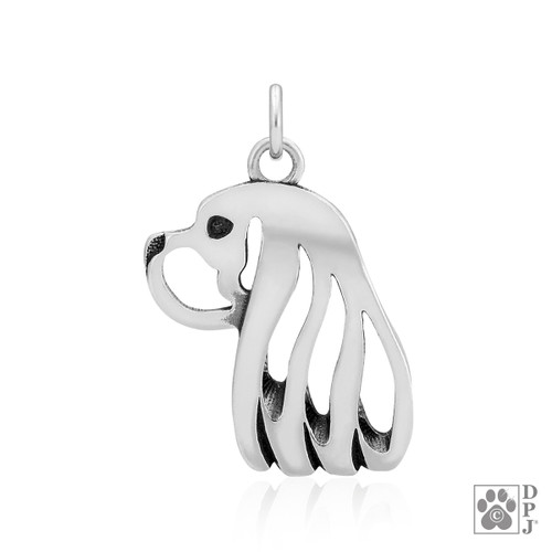 Cavalier King Charles Spaniel, Head pendant - recycled .925 Sterling Silver