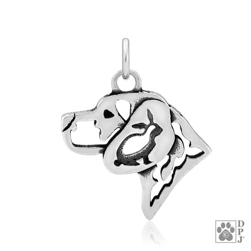 Beagle head pendant with Bunny in ear - recycled .925 Sterling Silver