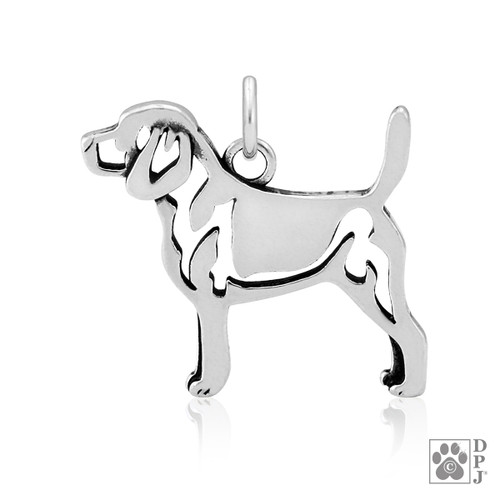 Beagle body pendant - recycled .925 Sterling Silver