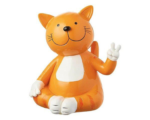 Mila Figure - Ginger cat victory sign-  13 cm - Polyresin