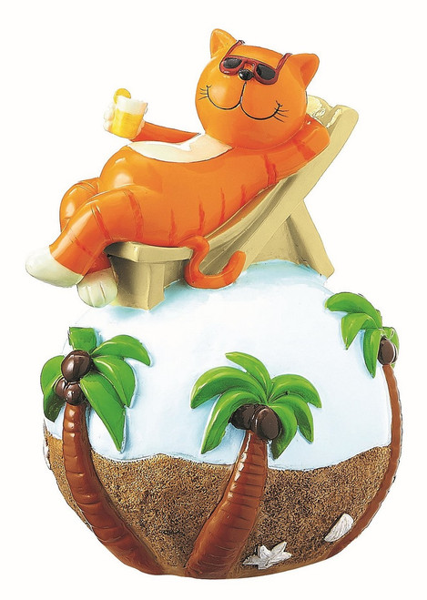 Garden decoration - Oommh cat (yoga cat) on beach - 23 cm
