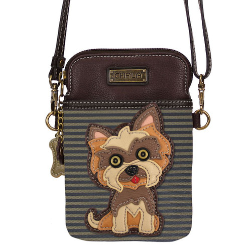Yorkshire Terrier - Small Phone / XBody Bag - Brown stripes - Faux Leather