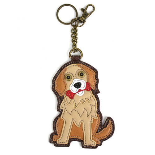Keyring/Bag Charm with coin purse - Golden Retriever - Faux Leather