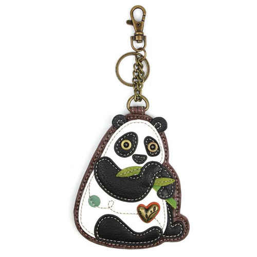 Keyring/Bag Charm with zipper coin purse - Panda - Faux Leather