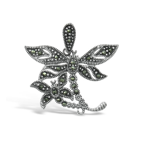Dragonfly Marcasite Pendant - 4 cm - .925 Sterling Silver