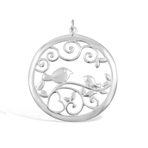 Round Bird Pendant 3 cm - .925 Sterling Silver