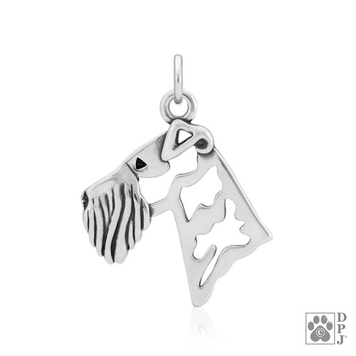 Airedale Terrier Head pendant - recycled .925 Sterling Silver