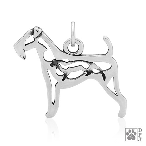 Airedale Terrier w/Otter, Body Pendant  - recycled .925 Sterling Silver