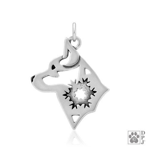 Alaskan Klee Kai w/Snowflake, Head pendant  - recycled .925 Sterling Silver
