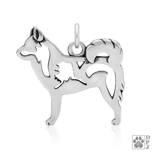 Alaskan Klee Kai w/Alaska, Body pendant  - recycled .925 Sterling Silver