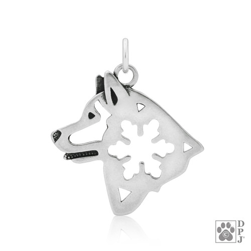 Alaskan Malamute w/Snowflake, Head pendant  - 925 recycled Sterling Silver