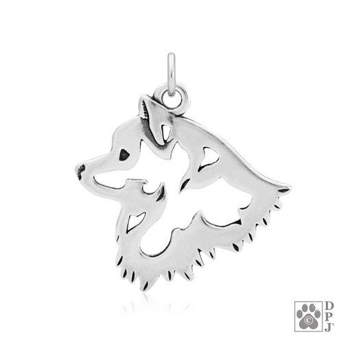 American Eskimo, Head pendant - recycled .925 Sterling Silver