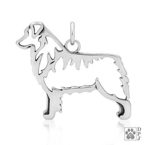 Australian Shepherd, Body pendant - recycled .925 Sterling Silver