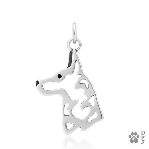 Belgian Malinois, Head pendant  - recycled .925 Sterling Silver