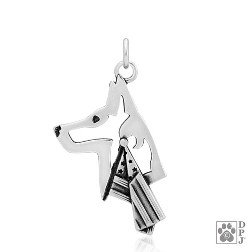 Belgian Malinois w/US Flag, Head pendant - recycled .925 Sterling Silver
