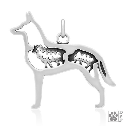 Belgian Malinois w/Sheep, Body pendant - recycled .925 Sterling Silver