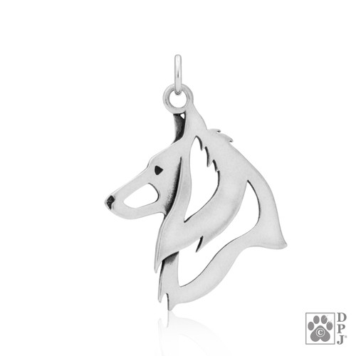 Belgian Sheepdog, Head pendant - recycled .925 Sterling Silver