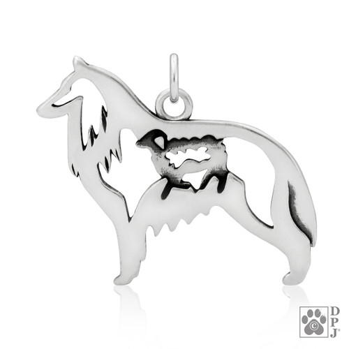 Belgian Sheepdog w/Sheep, Body pendant  - recycled .925 Sterling Silver