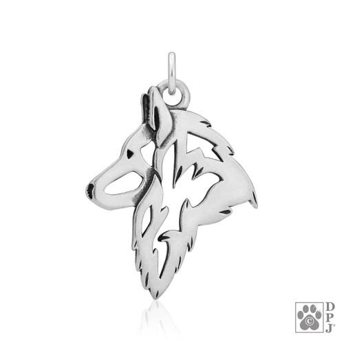 Belgian Tervuren, Head pendant  - recycled .925 Sterling Silver