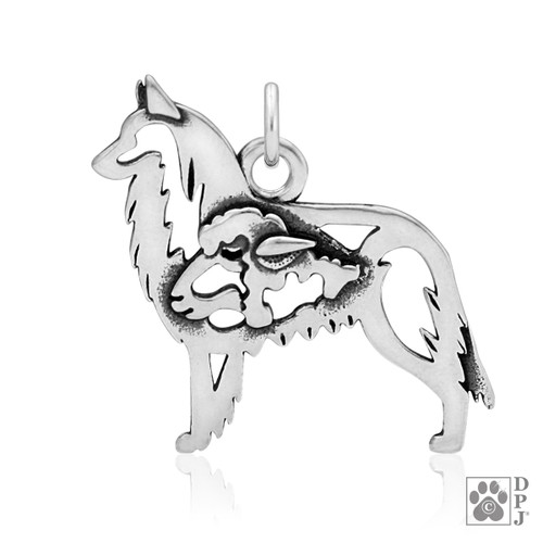 Belgian Tervuren w/Sheep, Body pendant  - recycled .925 Sterling Silver