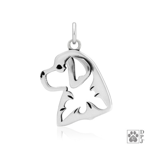Bernese Mountain Dog, Head pendant - recycled .925 Sterling Silver