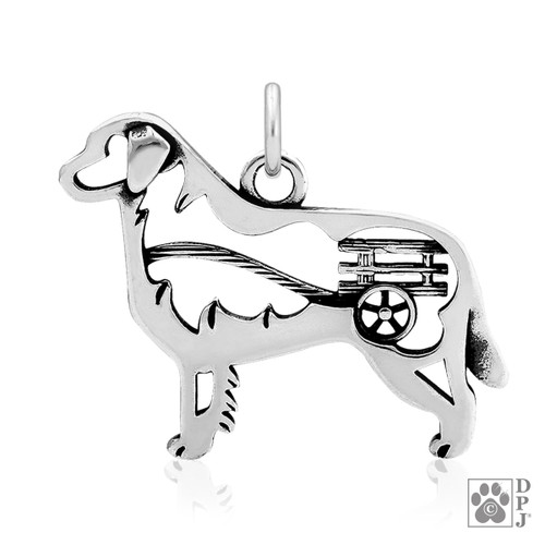 Bernese Mountain Dog with Cart, Body pendant - recycled .925 Sterling Silver