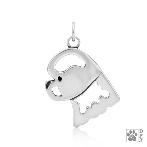 Bichon Frise, Head pendant - recycled .925 Sterling Silver