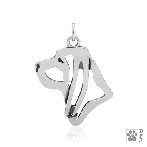 Bloodhound, Headpendant - recycled .925 Sterling Silver