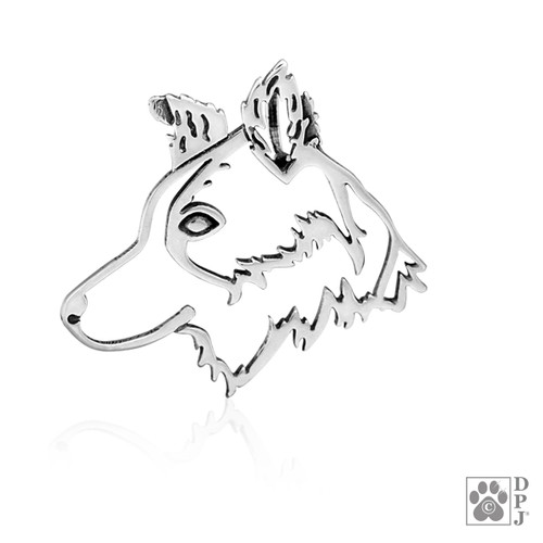 Border Collie Cinderella, Head pendant -  - recycled .925 Sterling Silver