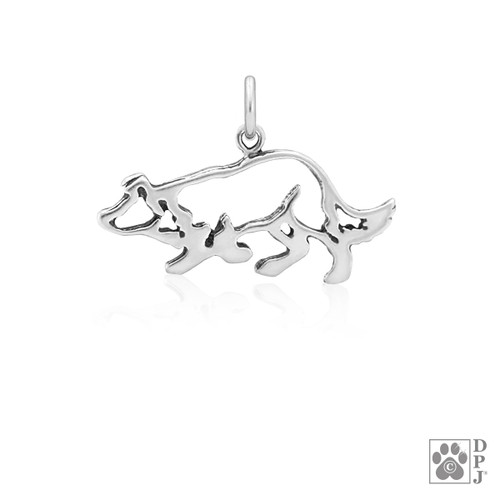 Border Collie Small Crouch, Body pendant - recycled .925 Sterling Silver