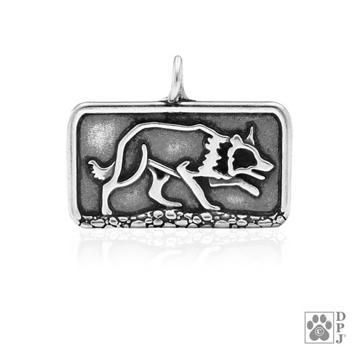 Border Collie Sizzlling Crouch, Body pendant - recycled .925 Sterling Silver