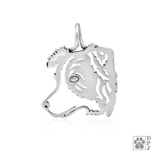 Border Collie Catcher, Head pendant - recycled .925 Sterling Silver