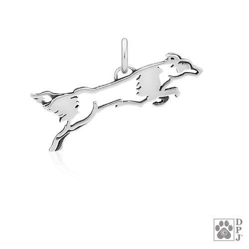 Fly Like A Border Collie, Body pendant - recycled .925 Sterling Silver