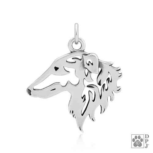 Borzoi, Head pendant -  - recycled .925 Sterling Silver