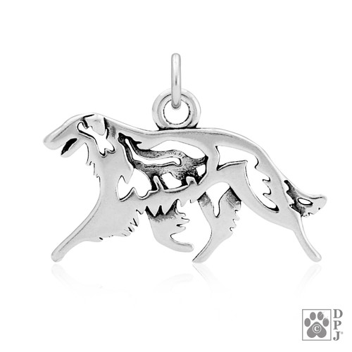 Borzoi w/Wolf, Body pendant - recycled .925 Sterling Silver