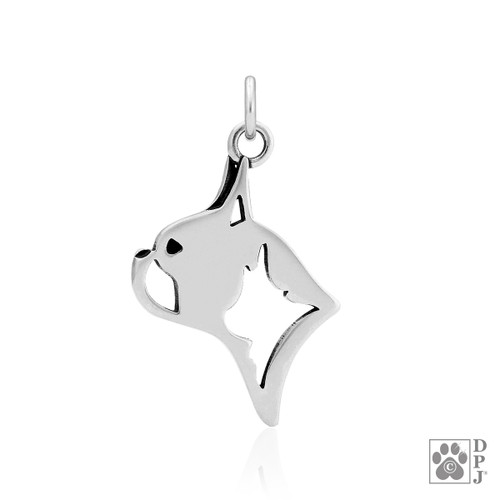 Boston Terrier, Head pendant - recycled .925 Sterling Silver