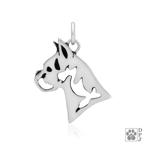 Boxer, Cropped Ears, Head pendant  - recycled .925 Sterling Silver