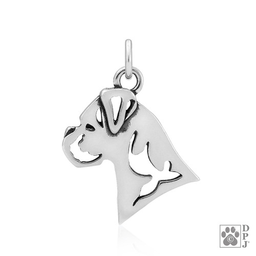 Boxer, Natural Ears, Head pendant - recycled .925 Sterling Silver
