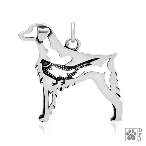 Brittany w/Pheasant, Body pendant - recycled .925 Sterling Silver