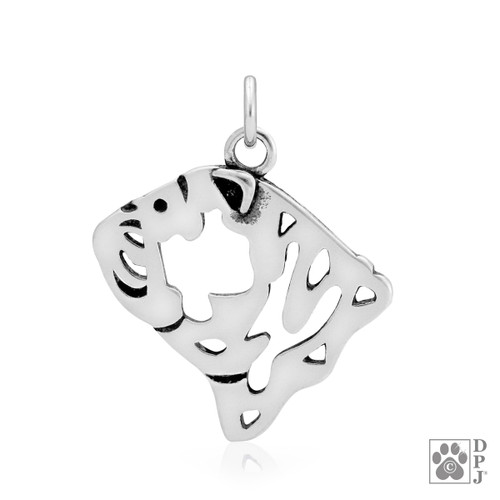 Bulldog, Head pendant - recycled .925 Sterling Silver