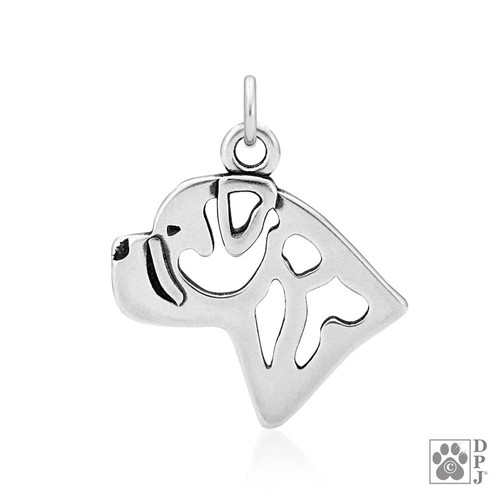 Bullmastiff, Head pendant - recycled .925 Sterling Silver