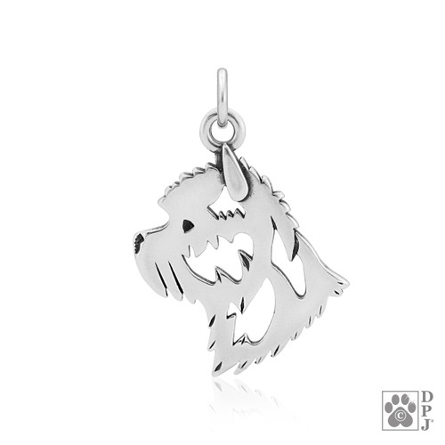 Cairn Terrier, Head pendant - recycled .925 Sterling Silver