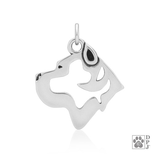 Cane Corso, Head pendant - recycled .925 Sterling Silver