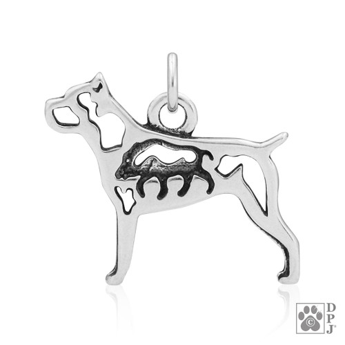 Cane Corso w/Boar, Body pendant - recycled .925 Sterling Silver