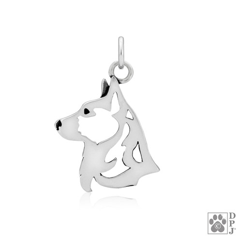 Cardigan Welsh Corgi, Head pendant - recycled .925 Sterling Silver