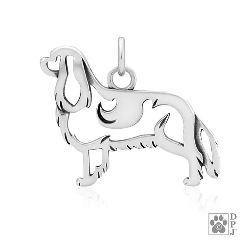 Cavalier King Charles Spaniel, Body pendant - recycled .925 Sterling Silver